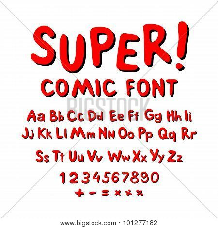 Wow. Creative High Detail Font For Your Design. The Alphabet In The Style Of Comics. Graphics Pop -