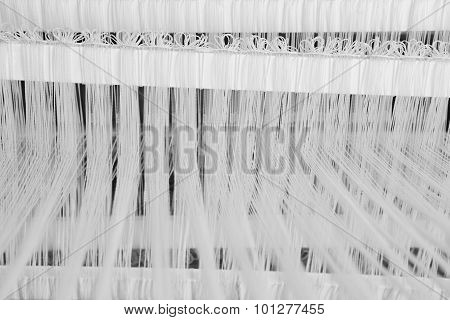 Traditional Loom Detail With Wool Yarn In Black And White