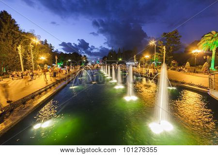 Batumi, Adjara, Georgia - September 1, 2015:  Boulevard At Night In Batumi, Fountain, Georgia