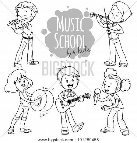 Cartoon Kids Playing Musical Instruments And Singing