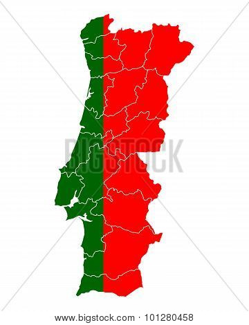 Map And Flag Of Portugal