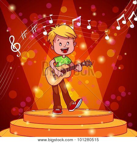 Cartoon Boy Singing And Playing Guitar