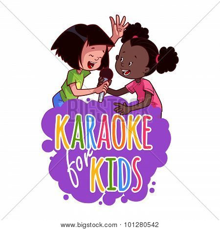 Cartoon Children Sing With A Microphone