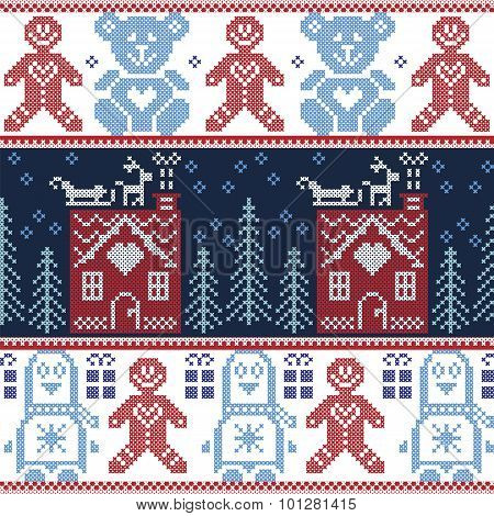 Scandinavian Nordic Christmas seamless pattern with ginger bread house, reindeer, snow, snowflakes,