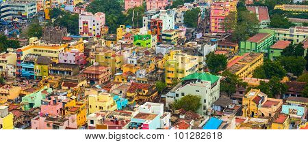 Cityscape Of Colorful Homes In Crowded Indian City Trichy, Panorama
