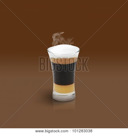 Mocha Coffee On Brown Background