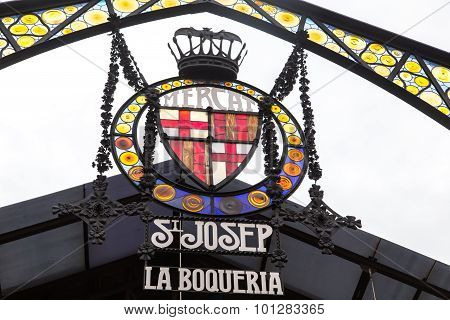 Boqueria Market Entrance In Ramblas Street, Barcelona, Spain