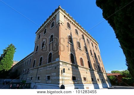 VERONA, ITALY - SEPTEMBER 2014 : Building at Castel San Pietro in Verona, Italy on September 14, 2014. The building is situated on the hill of San Pietro.