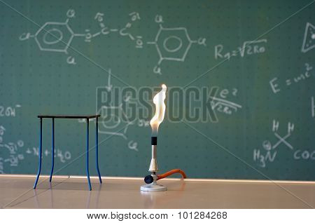 Bunsen Burner In A Lab