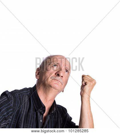 Elderly Man Threatening With A Fist