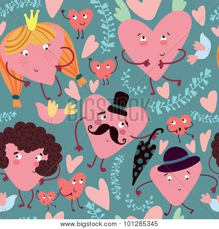 Funny Seamless Pattern With Cute Hearts.seamless Pattern Can Be Used For Wallpaper, Pattern Fills, W