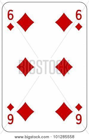 Poker Playing Card 6 Diamond