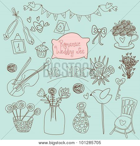 Cute Wedding Vector Set. Couple Of Lovers, Bow-tie, Candies, Bouquet, Dove, Cakes, Cocktail And Othe