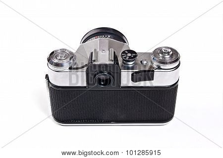 Old Range Finder Vintage Camera On White Background.