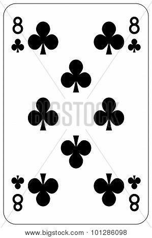 Poker Playing Card 8 Club