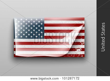 US flag with the tattered masking
