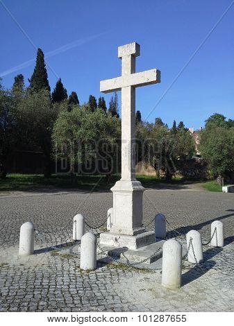 Christian Cross in blue sky morning