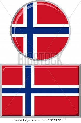 Norwegian round and square icon flag. Vector illustration.