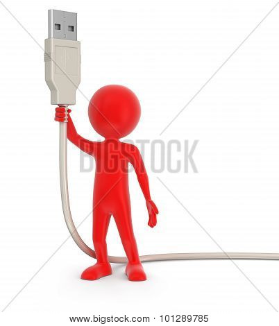 Man and USB Cable (clipping path included)