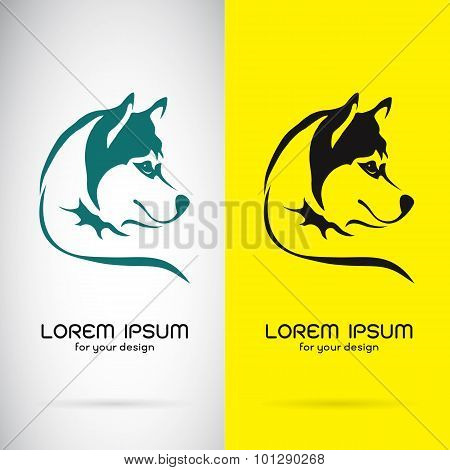 Vector Image Of A Dog Siberian Husky Design On White Background And Yellow Background, Logo, Symbol
