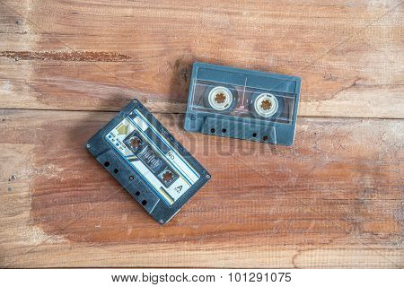 Retro Photo Of Old Cassette Tape And Player