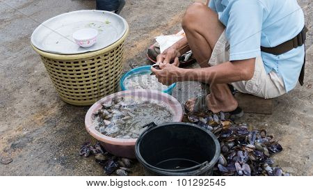 Man Prepare Shellfish For Sale In The Local Market