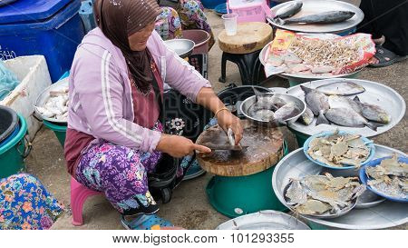 Woman Sell Fish And Crab In The Local Market