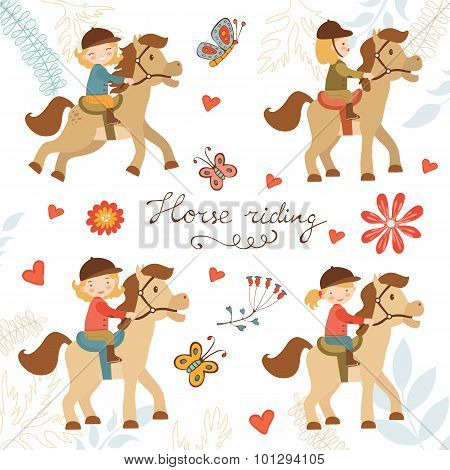 Adorable collection of cute little girls riding horses