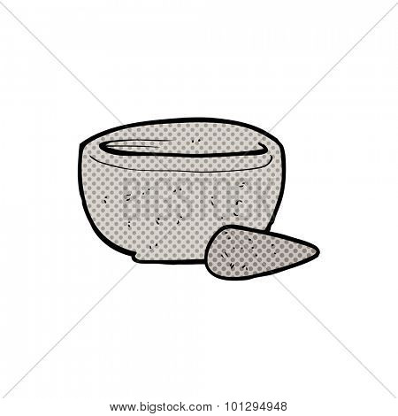 comic book style cartoon stone pestle and mortar