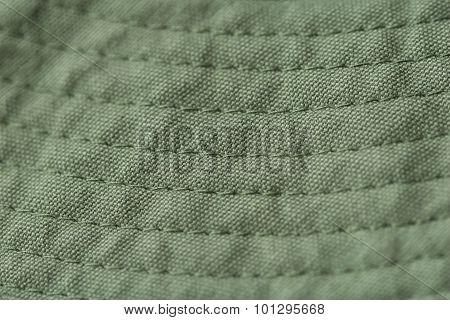 Green Fabric with Stitches
