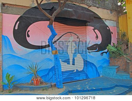 graffiti on the street in Kolkata
