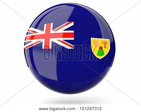 Round Icon With Flag Of Turks And Caicos Islands
