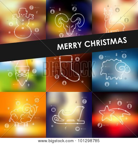 Christmas timeline infographics with blurred background