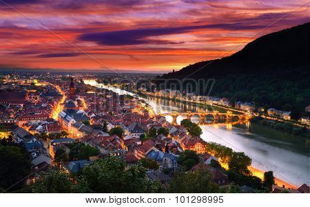 Heidelberg, Germany, With Dramatic Dusk Sky