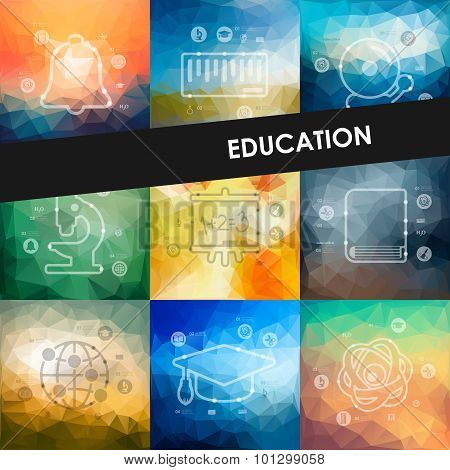 education timeline infographics with blurred background
