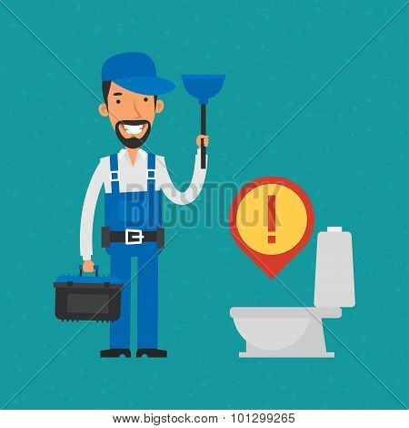 Repairman holding plunger and tools