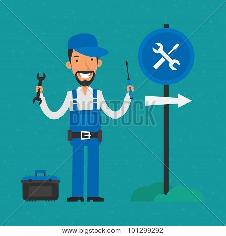 Repairman holding screwdriver and wrench