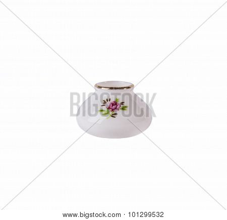 White Porcelain Vase with floral ornament isolated on white background