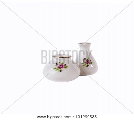 Two white porcelain flower vase isolated on white background