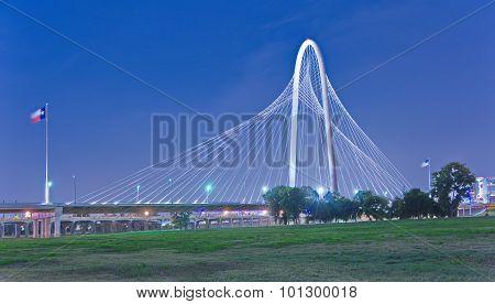 Margaret Hunt Hill Bridge At Night In Dallas, Texas