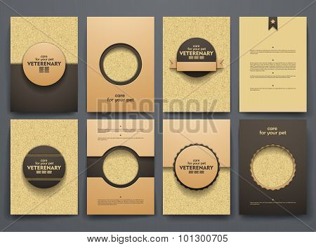 Vector brochures with doodles backgrounds on veterinary theme