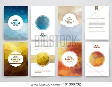 Set of brochures in poligonal style on family theme