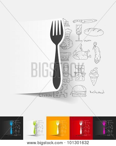 fork paper sticker with hand drawn elements