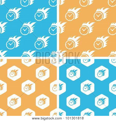 Burning clock pattern set, colored