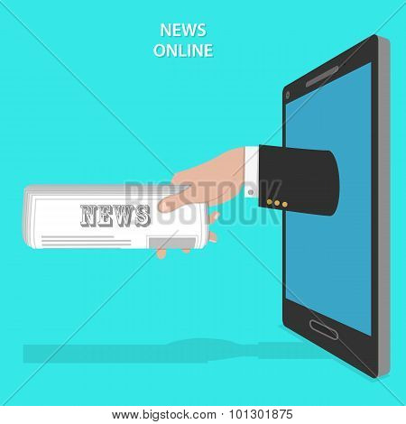 Online news service flat vector concept.