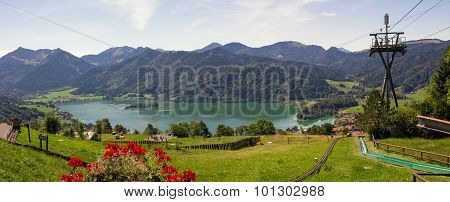 Lookout From Schliersbergalm, Lake Schliersee And Alps