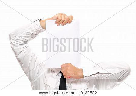 Businessman Holding White Paper