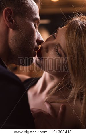 Sensual Couple Kissing Passionately