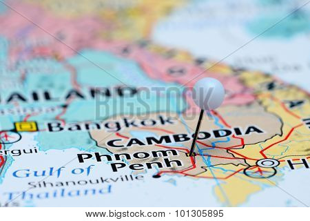 Phnom Penh pinned on a map of Asia