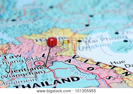 Vientiane pinned on a map of Asia